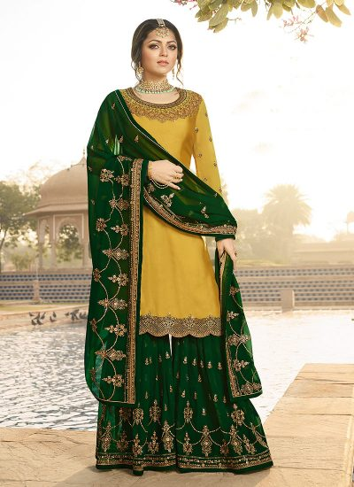 Yellow and Green Embroidered Gharara Suit