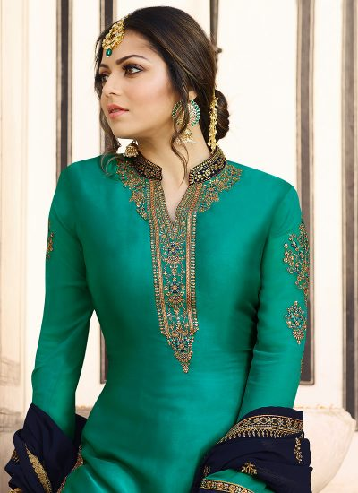 Aqua Green and Blue Embroidered Gharara Suit