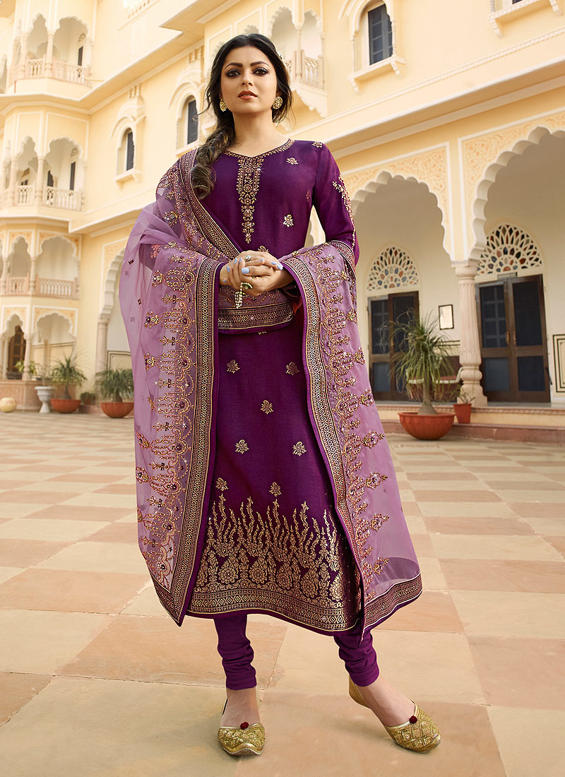 Purple and Gold Embroidered Straight Suit
