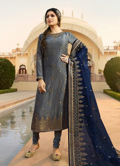 Grey and Blue Embroidered Straight Suit