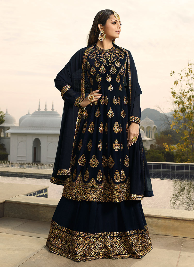 Dark Blue and Gold Embroidered Lehenga