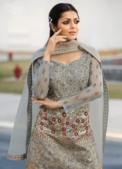 Blue Grey Floral Embroidered Palazzo Suit
