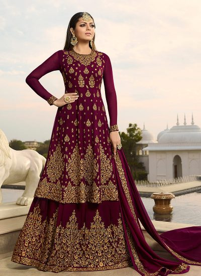 Magenta and Gold Embroidered Lehenga