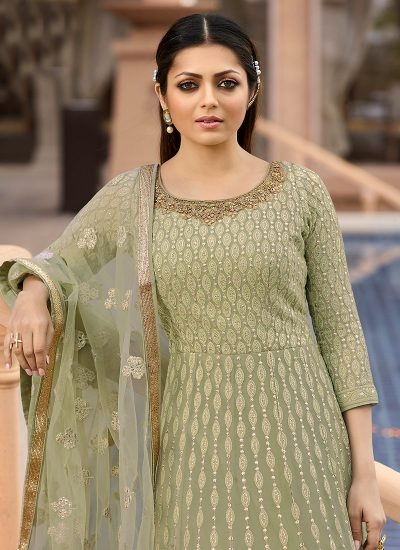 Light Green Embroidered Anarkali