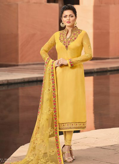 Yellow Floral Embroidered Straight Suit
