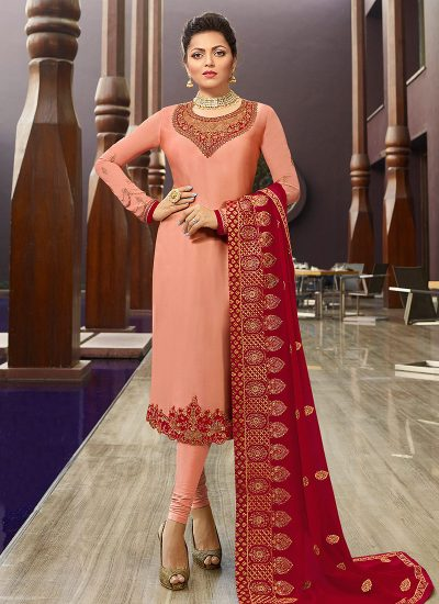 Peach and Red Embroidered Straight Suit