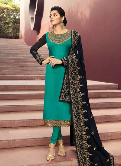 Sea Green and Blue Embroidered Straight Suit