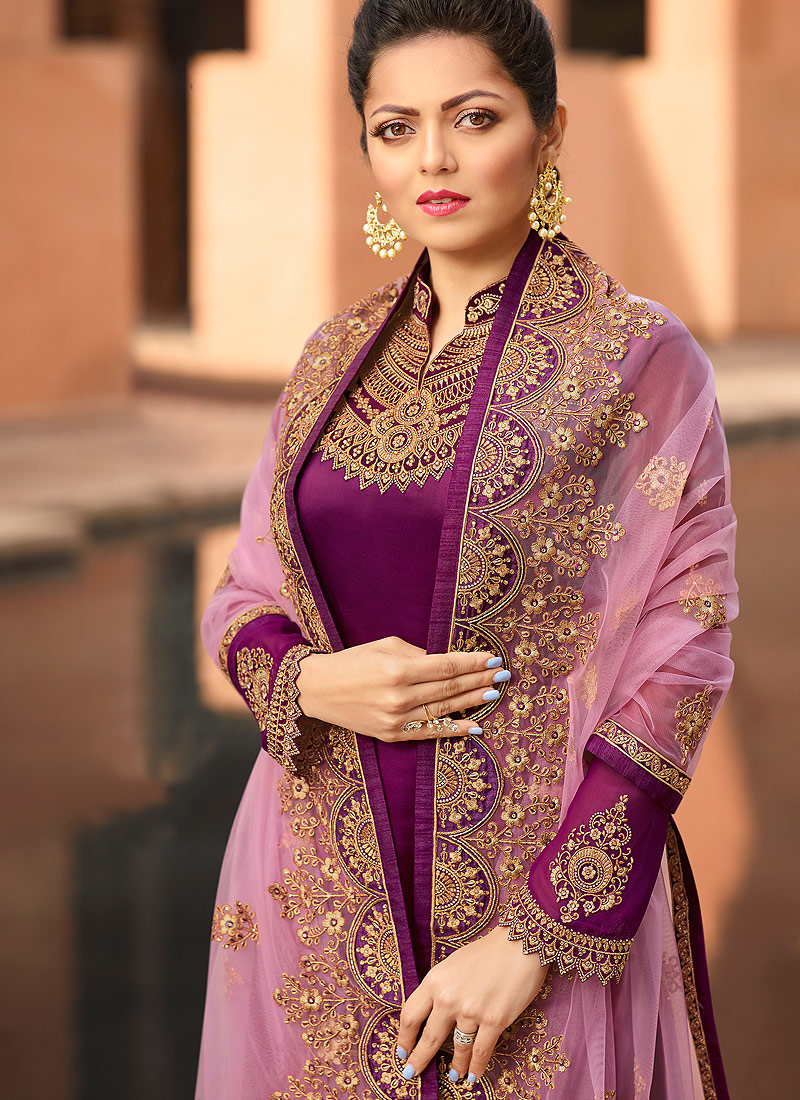Magenta and Gold Embroidered Straight Suit