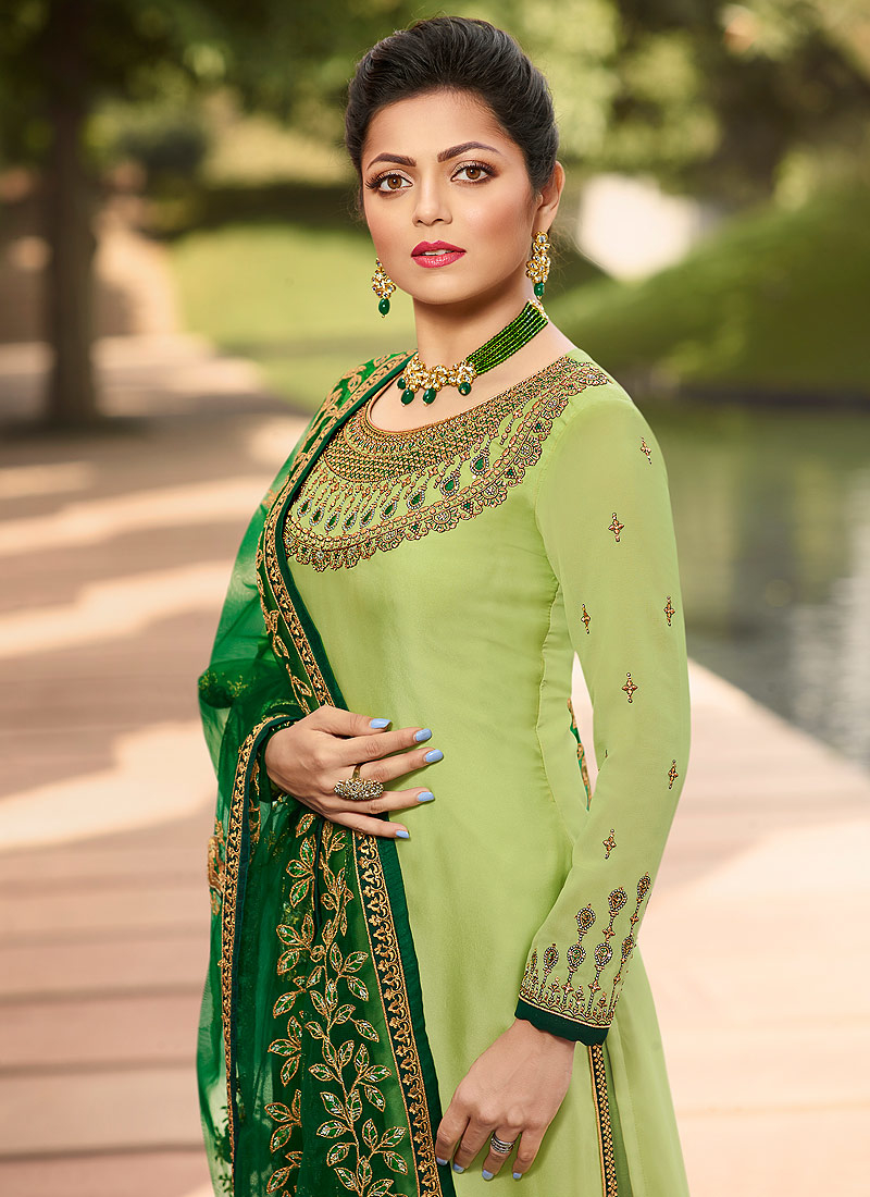 Light Green and Gold Embroidered Straight Suit