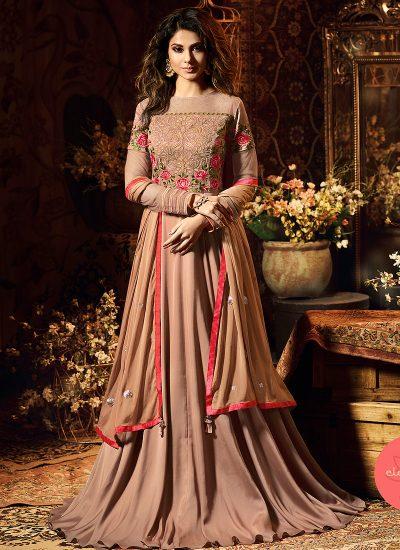 Beige Floral Embroidered Anarkali