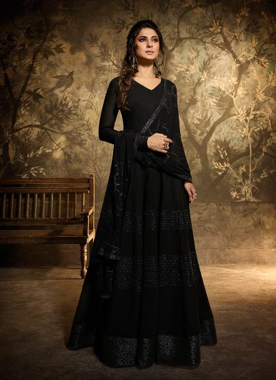Black Embroidered Anarkali