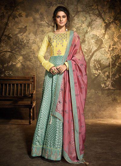 Yellow and Aqua Embroidered Anarkali