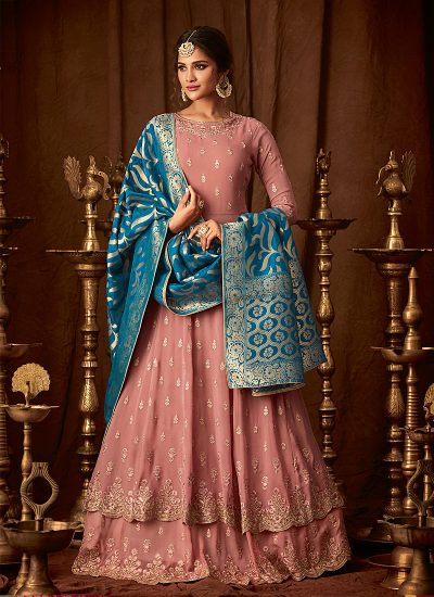 Pink and Blue Embroidered Sharara Suit