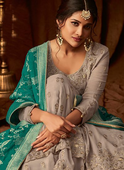 Grey and Teal Embroidered Sharara Suit