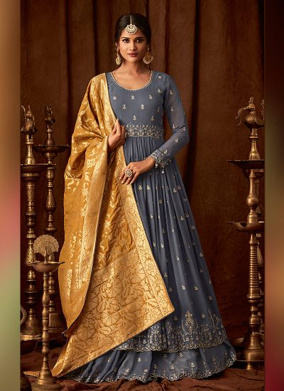 Blue and Yellow Embroidered Sharara Suit