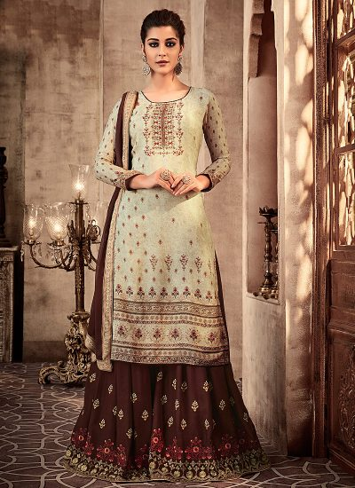 Light Green and Brown Embroidered Sharara Suit
