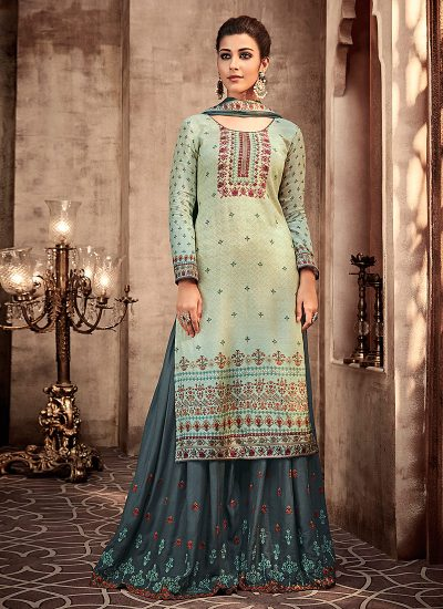 Light Blue and Grey Embroidered Sharara Suit
