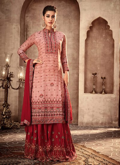 Light Pink and Red Embroidered Sharara Suit