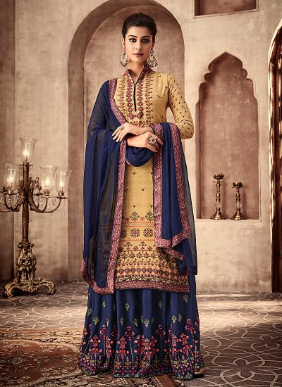 Yellow and Blue Embroidered Sharara Suit