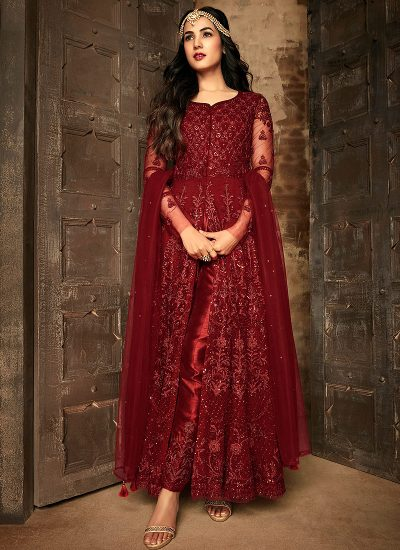 Maroon Heavy Embroidered Pant Style Anarkali
