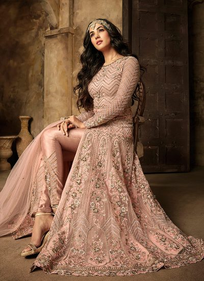 Light Pink Embroidered Pant Style Anarkali