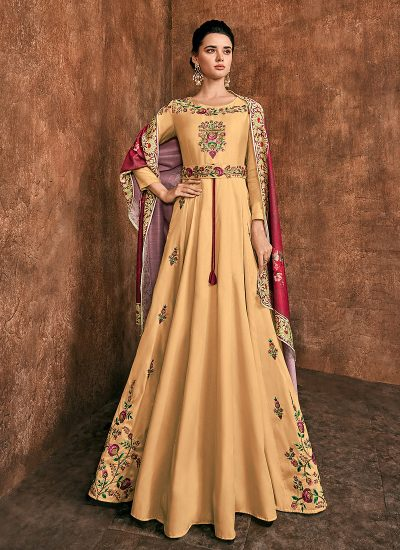 Light Yellow Floral Embroidered Anarkali