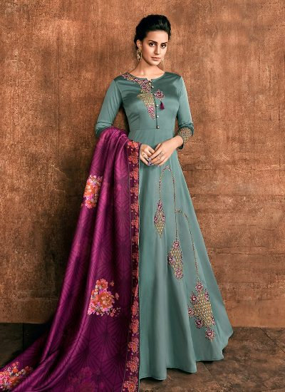 Blue and Purple Embroidered Anarkali