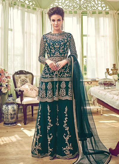 Dark Green and Gold Embroidered Plazzo Suit