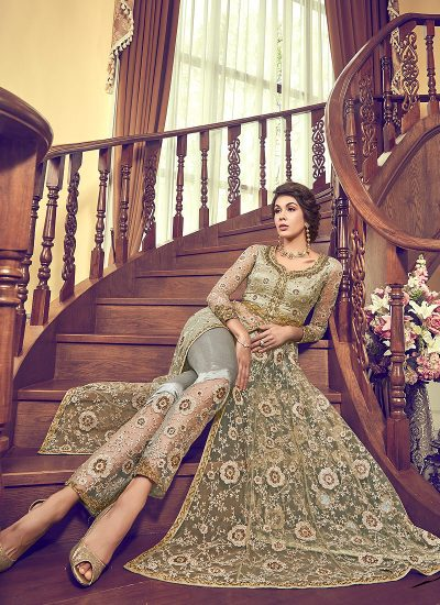 Light Green Embroidered Lehenga/ Pant Style Anarkali