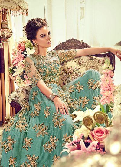 Aqua and Gold Embroidered Anarkali