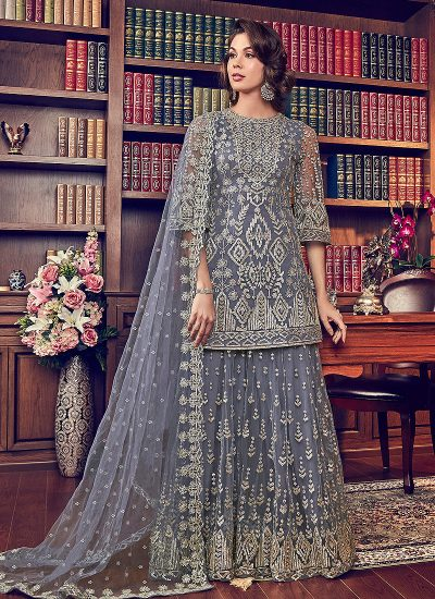 Grey and Gold Embroidered Plazzo Suit