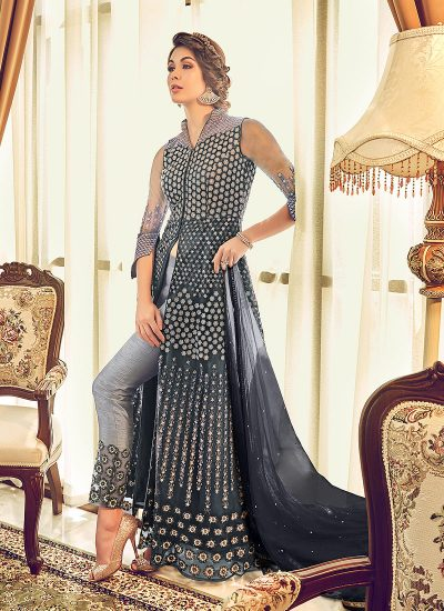 Grey Embroidered Lehenga/ Pant Style Anarkali