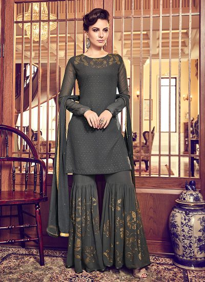 Dark Grey Embroidered Gharara Suit