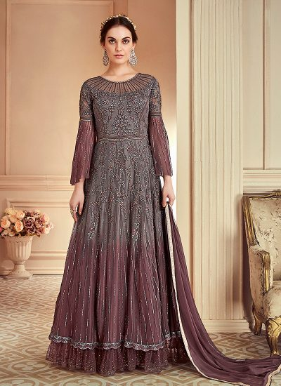 Grey Heavy Embroidered Anarkali Gown
