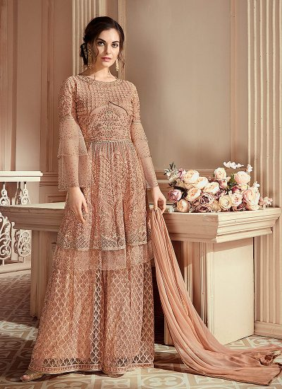 Light Beige Heavy Embroidered Gharara Suit