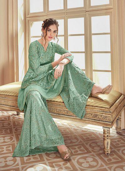 Sea Green Embroidered Lehenga/ Gharara Suit