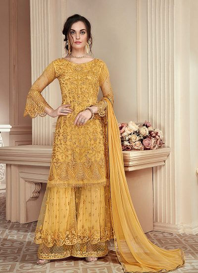 Yellow Heavy Embroidered Gharara Suit