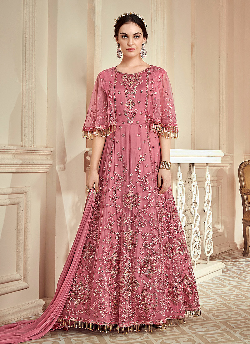 8d2db1ff19 Pink Heavy Embroidered Anarkali Gown – Falakenoor Boutique