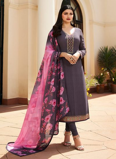 Grey and Pink Embroidered Straight Suit