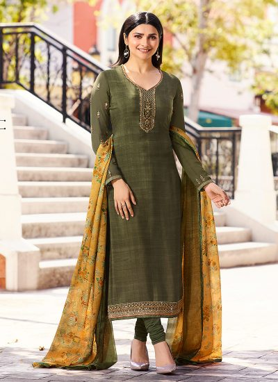 Green and Yellow Embroidered Straight Suit