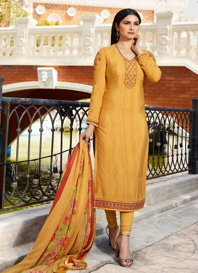 Yellow and Gold Embroidered Straight Suit