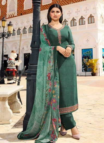 Teal Embroidered Straight Cut Suit