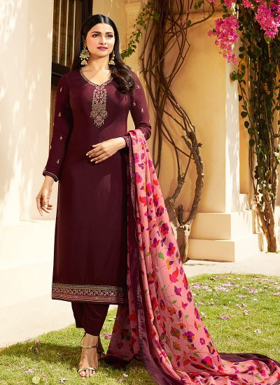 Maroon Embroidered Straight Cut Suit