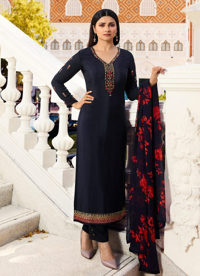 Blue Embroidered Straight Cut Suit