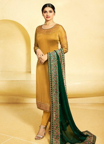 Gold and Green Embroidered Straight Cut Suit