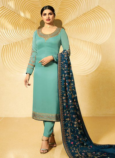 Sky Blue Embroidered Straight Cut Suit