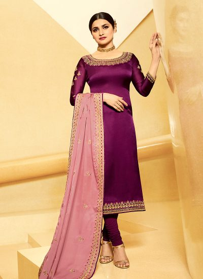 Purple and Pink Embroidered Straight  Suit