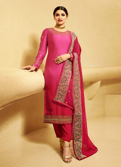 Pink Shaded Embroidered Straight Cut Suit