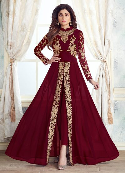 Red and Gold Embroidered Pant Style Anarkali