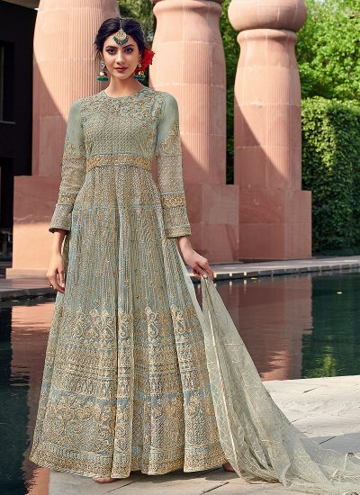 Blue and Gold Embroidered Anarkali Gown
